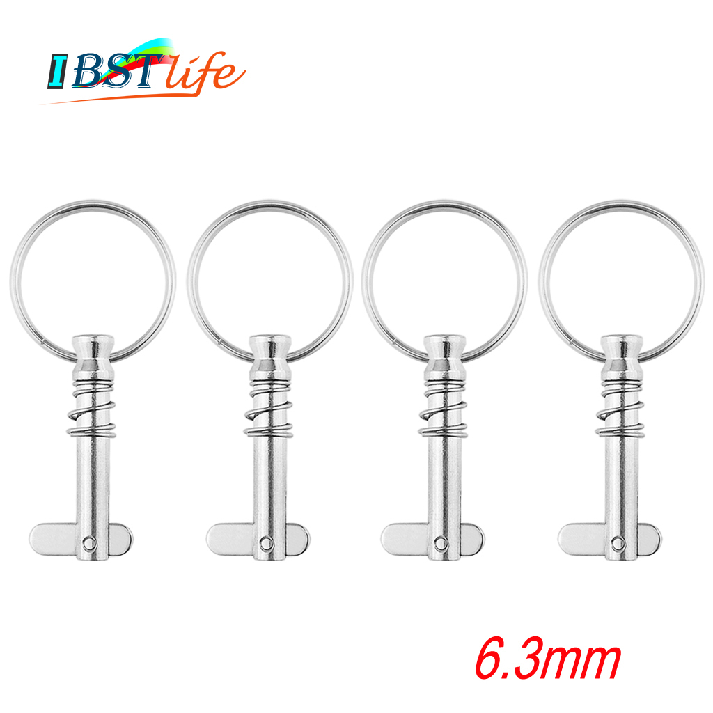 4 Pcs 6.3mm Stainless Steel 316 Quick Release Pin With Ring For Boat Bimini Top Deck Hinge Marine Hardware