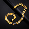 Two Tone Gold Bracelet Stamp '18K' Real Gold Plated Men Jewelry 2016 New Trendy 6 MM 21 CM Cuban Chain Bracelet Wholesale