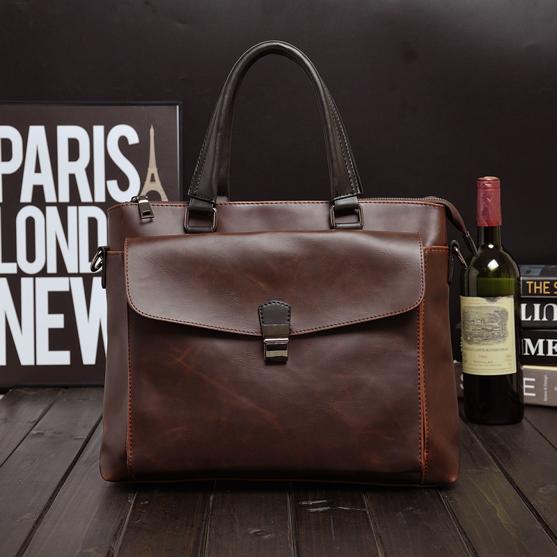 cdaf22efdca6 2019 New Fashion Vintage PU Leather Men Bag Famous Brand Simple Shoulder  Bag Messenger Bags Causal Handbag Laptop Briefcase Male-in Briefcases from  Luggage ...