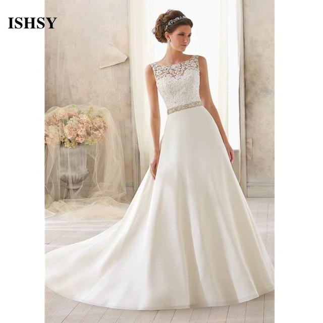 accd0df0 2017 New Cheap vestidos de novias baratos Lace Satin Train White Ivory  Weddind Dresses Gowns Plus Size robe de mariage Custom