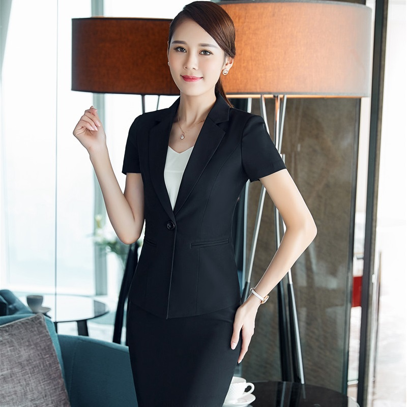 Novelty Black Fashion 2017 Summer Work Suits With 2 Pieces Tops And Skirt Professional Business Women Ladies Blazers Outfits