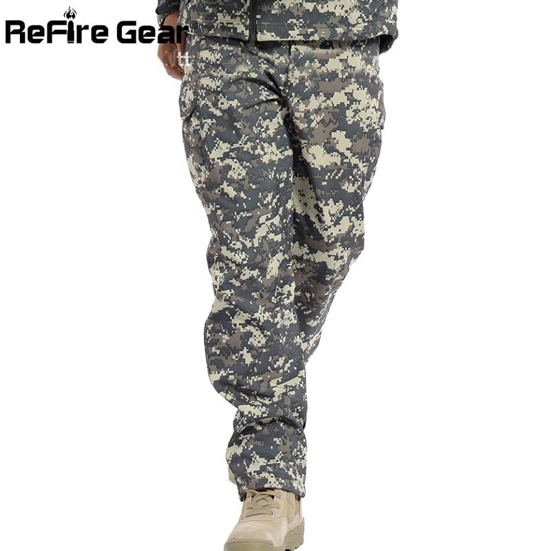 Refire Gear Winter Shark Skin Soft Shell Tactical Military Camouflage Pants Men Windproof Waterproof Warm Camo Army Fleece Pants #3