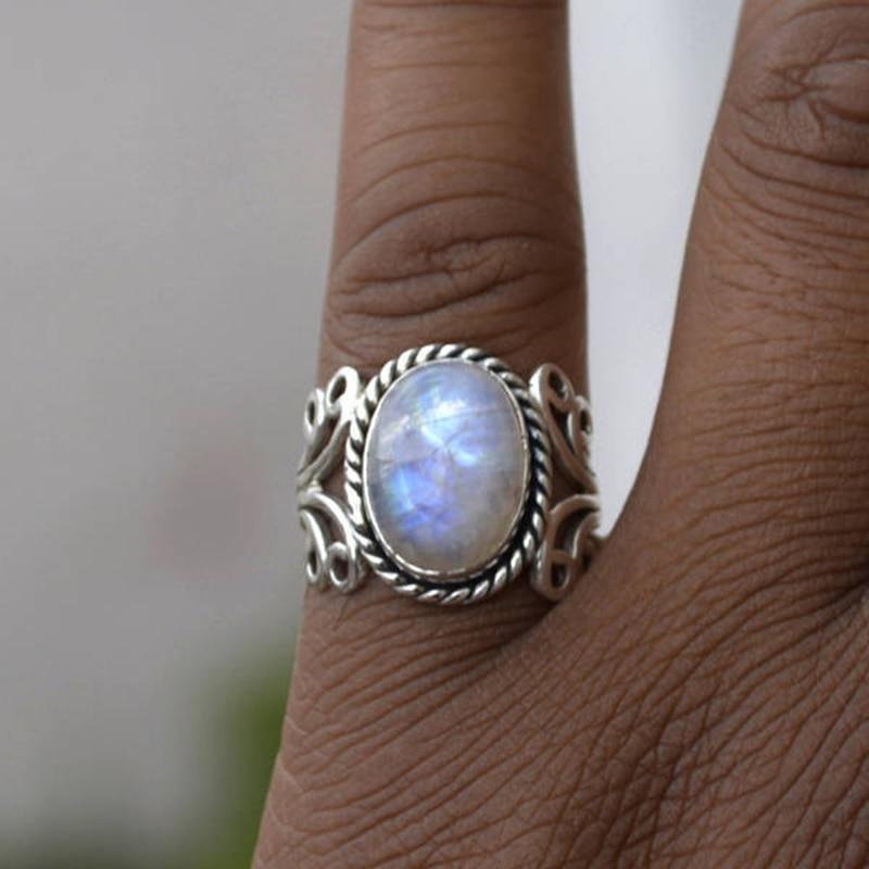 Phesee Big Size Antique Boho Jewelry Silver Moonstone ...