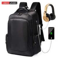 "MAGIC UNION 17"" Men Laptop Backpack for Women Urban Backpack Male School Bags Big Capacity Travel Backpack Waterproof"