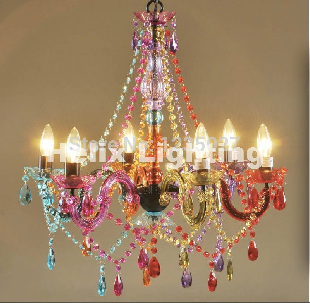 Free Ship Art Deco Colorful Chandelier Mixed Color Pink Black Blue Living Room