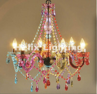 Free Ship Art deco Colorful Chandelier Mixed color/Pink/Black/Blue Living Room Candle Lamps luxury Acrylic Crystal Chandelier
