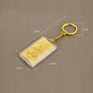 Image 2 - Asklove 3D זהב מפתח אבזם 24K זהב לסכל המפלגה מתנות יוקרה מחזיקי מפתחות לשלוח חברים עמיתים מתנות קישוט מזל תליון