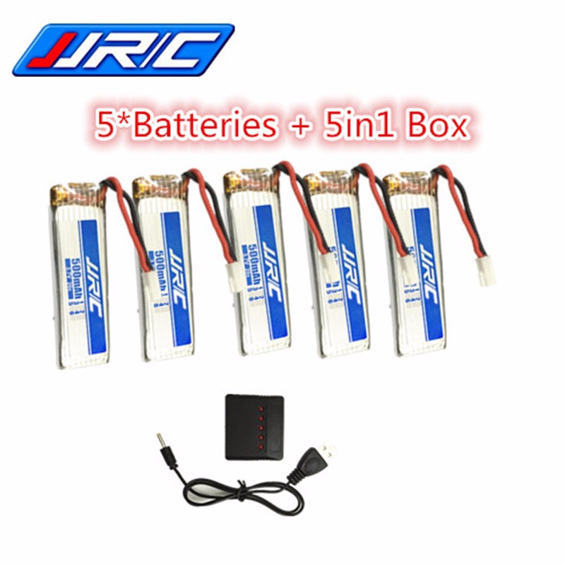 5Pcs JJRC H37 RC Drone lipo Battery li-po 3.7V 500mAh with 5in1 charger cable for JJR/C JJRC H37 RC Quadcopter Extra Battery