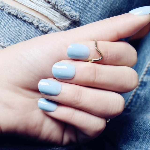 Fresh Light Blue Pure Color False Nails With Glue Cute Acrylic Fake Anese Short Size