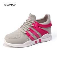 SWYIVY Women Running Shoes Inner Height Mesh Breathable Sneakers 2018 Lace Up Hard Wearing Super Light
