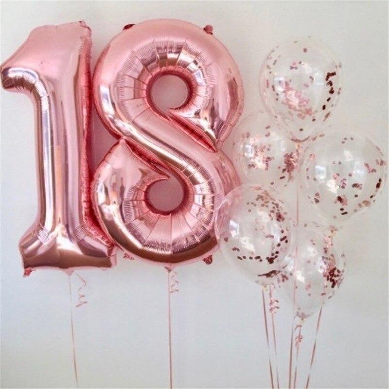 795c7200b4f4 US $0.42 15% OFF|16 40 zoll Baby Dusche Rose Gold Anzahl Folien Ballons  Große Stellige Helium Luftballons Hochzeit Dekorationen Geburtstag Partei  ...
