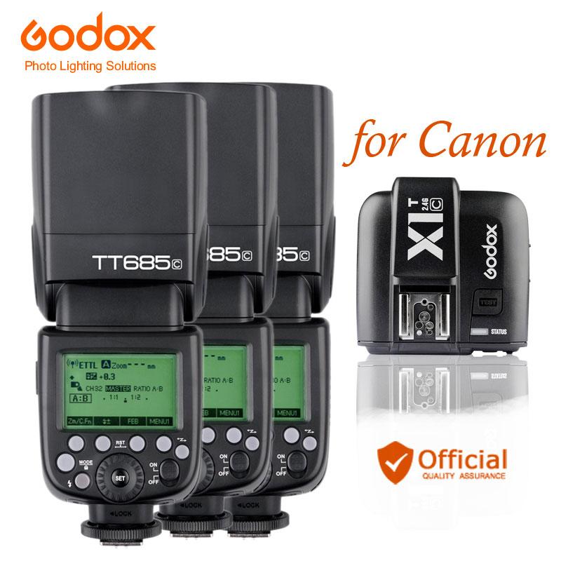 3*Godox TT685C GN60 Auto Flash Light Speedlite E-TTL II+Transmitter Trigger for Canon 5D 6D Mark iii 70D 1D 700D 600D 500D 760D meike mk 580 ttl camera flash speedlite for canon 580ex ii eos 5d mark ii iii 6d 7d 60d 600d 700d diffuser