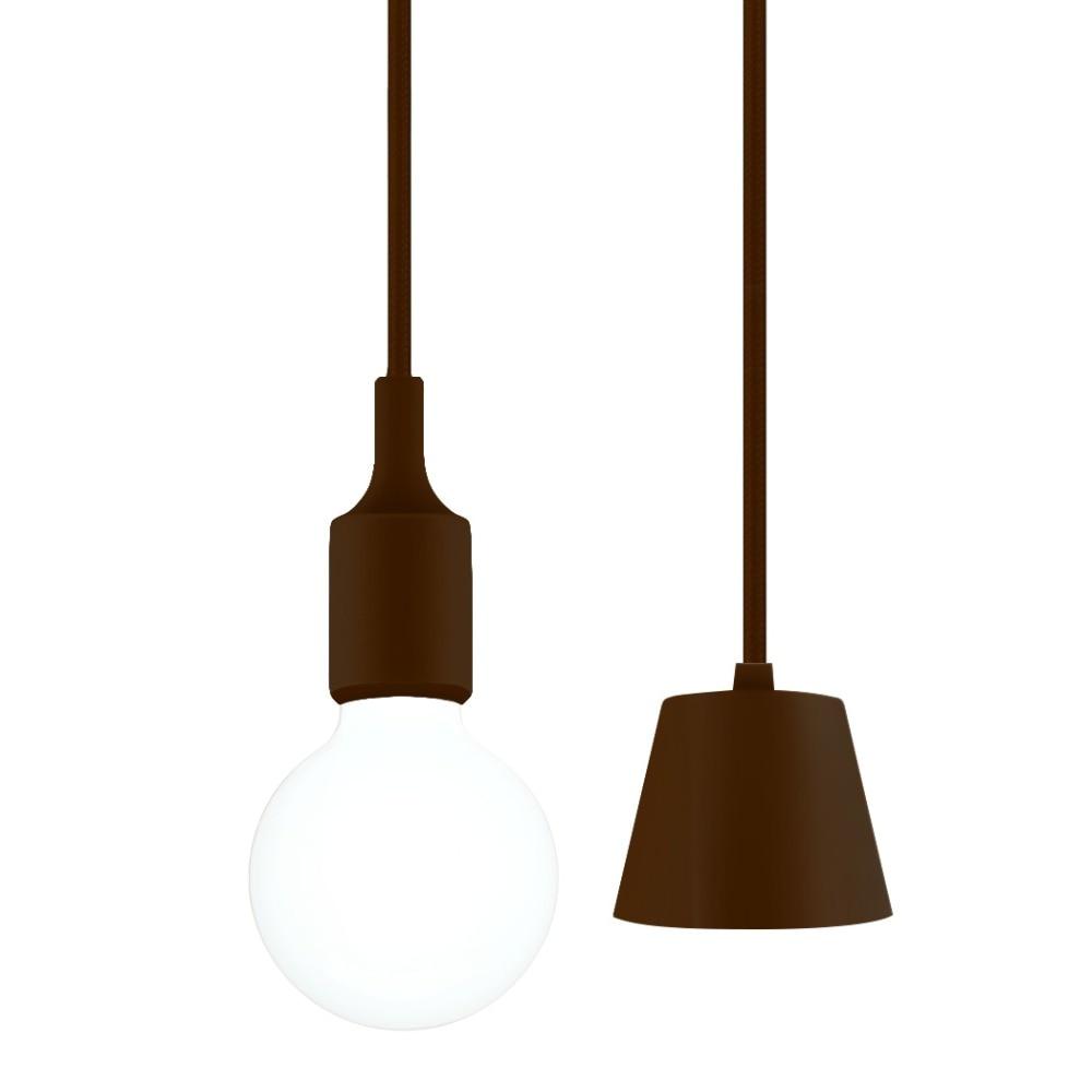 Us 11 99 brown ceiling hanging pendant light fitting diy pendant lamp holder cord with e27 screw lamp holder for kitchen dinner room in pendant