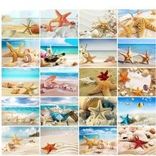 Pintura diamante do Ponto da Cruz Sea Shell Starfish Cenário Decoração de Casa Cheia de Strass Mosaico 5D Diamante Bordado