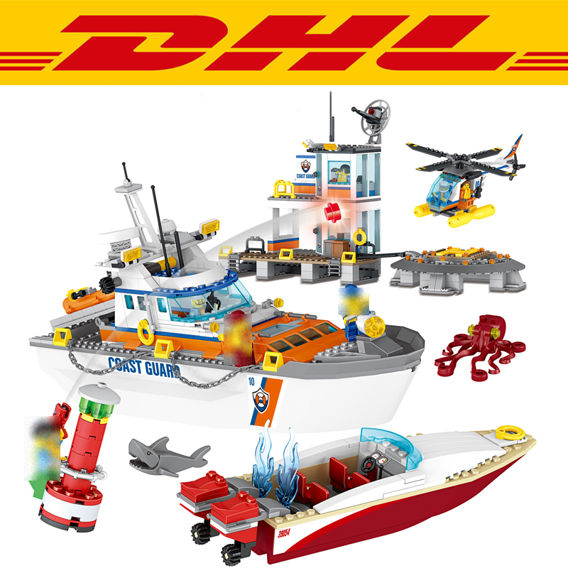 New 834Pcs City Figures Coast Guard Head Quarters Model Building Kit Blocks Bricks Toy For Children Gift Compatible With 60167 lepin 02070 492pcs city series coast guard model building blocks bricks toys for children gift