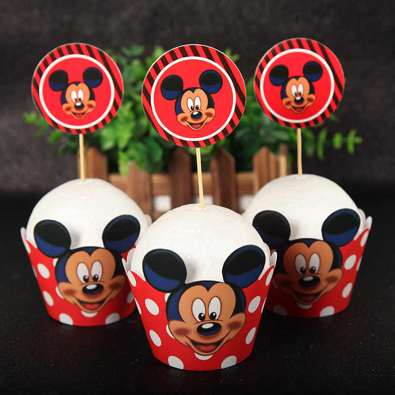 24pcs/lot Mickey Mouse cupcake wrapper toppers picks decoration baby birthday party supplies cupcake wrappers