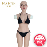 Roanyer silicone breast forms fake boobs may mask whole body suits with arms for crossdresser shemale drag queen