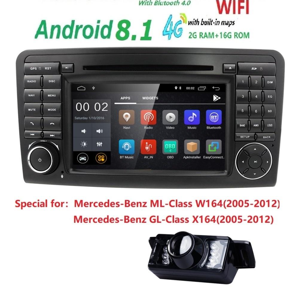 7 CarGPS Navigation forMercedes Benz ML GL W164 ML300 ML350 DVD Radio Android8.1 iPod WIFI 4g USB SD CAM-EN OBD2 DAB + N ° Cam
