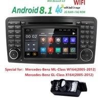 7CarGPS Navigation forMercedes Benz ML GL W164 ML300 ML350 DVD Radio Android8.1 iPod WIFI 4G USB SD CAM IN OBD2 DAB+Reverse Cam