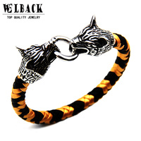 2017 New Brand Wolf Head Buckle Hand Made Braided Bracelet Punk Jewelry Accessories Leather Men S
