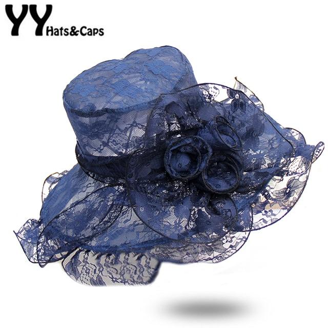 68d4048b Elegant Lace Summer Sunhats with Wide Brim Beach CAP lady Kentucky Derby hat  Organza Church Hat Floral Wedding Fedora YY18084