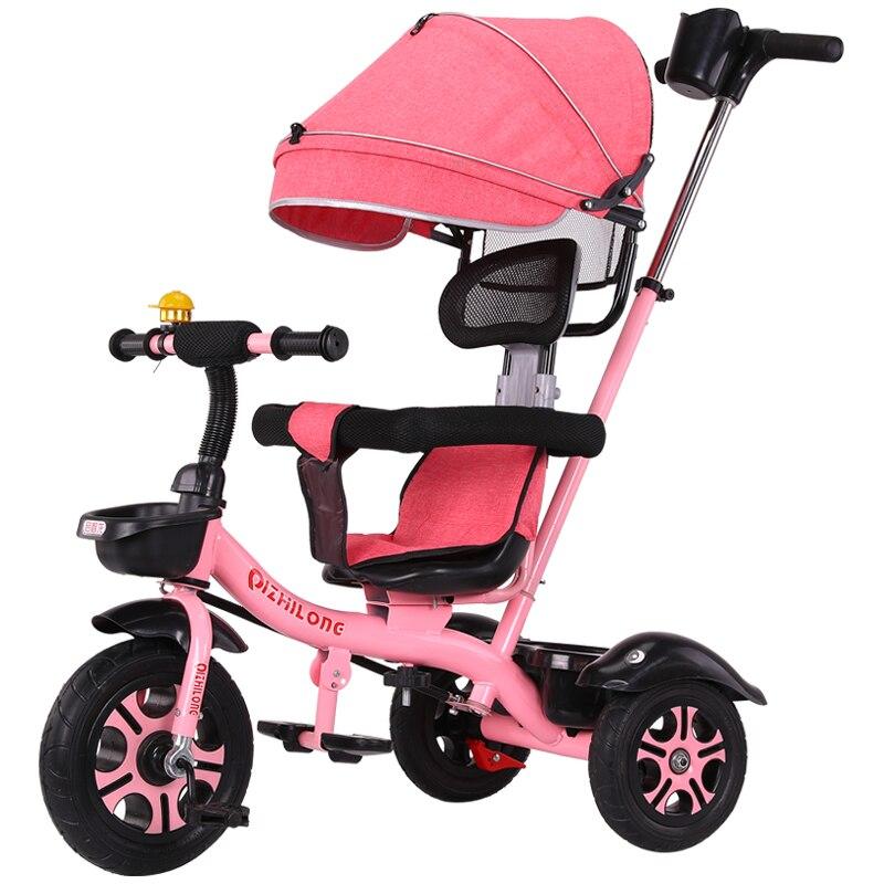 Chariot de poussette de vélo de bébé de tricycle de poussée de main des enfants