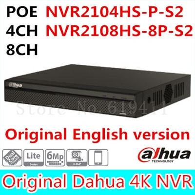 Dahua Original Englsih version NVR PoE 4CH 8CH NVR2104HS-P-S2 / NVR2108HS-8P-S2 up to 6Mp Recording Onvif Network video recorder 16ch poe nvr 1080p 1 5u onvif poe network 16poe port recording hdmi vga p2p pc