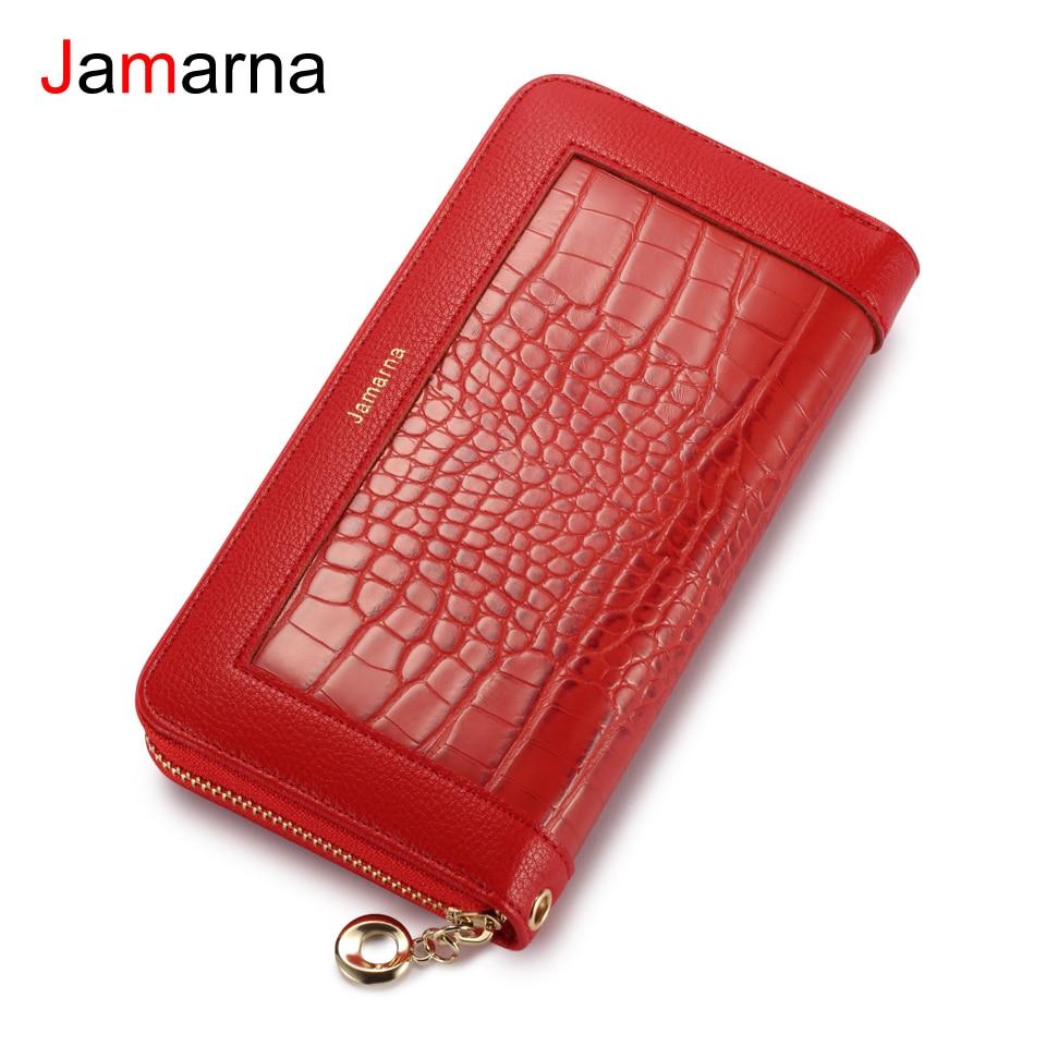 Jamarna Wallet Female PU Red Long Clutch Women Wallet Female Card Holder Splice Crocodile Pattern Zipper Purse Red Coin Wallet