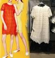 VogaIn 2016 Новые Моды для Женщин Sweet Кружева Мини dress Короткими рукавами вернуться Задняя кнопка подробно Orange Красный Желтый Бежевый Размер S XL