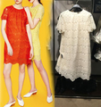 Vogain 2016 novas mulheres da moda sweet lace mini dress mangas curtas botão voltar traseira detalhe orange vermelho amarelo bege tamanho s para XL