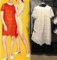 Vogain 2016 nuevas mujeres sweet lace mini dress manga corta volver detalle de botón trasero orange rojo amarillo beige talla s a XL