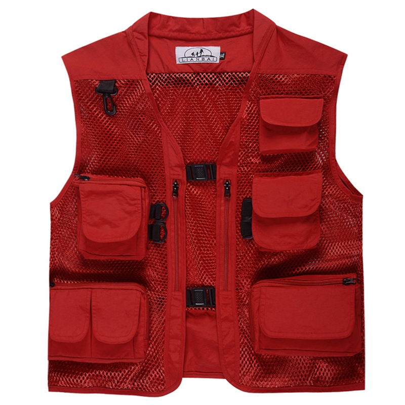 Summer Outdoor Men Multi Pocket Baggy Vest  Men Thin Mesh Shooting Work Outerwear Sleeveless Jacket  Many Pockets Fishing Vest