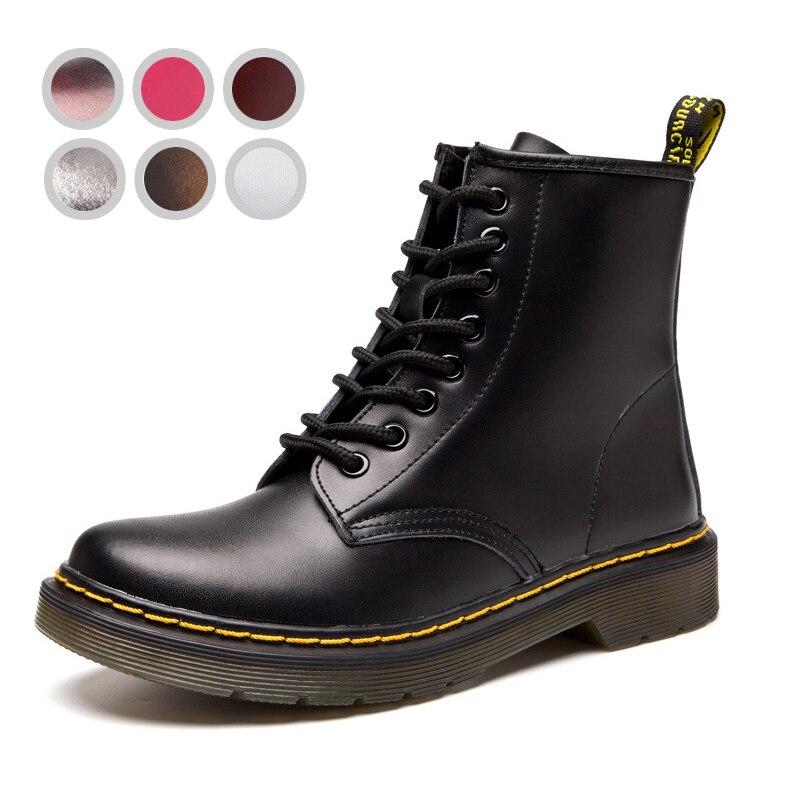 Bottes de fourrure d'hiver pour hommes bottes de fourrure en cuir noir Doc Dr Martins chaussures pour hommes unisexe Dr Zapatos bottes militaires