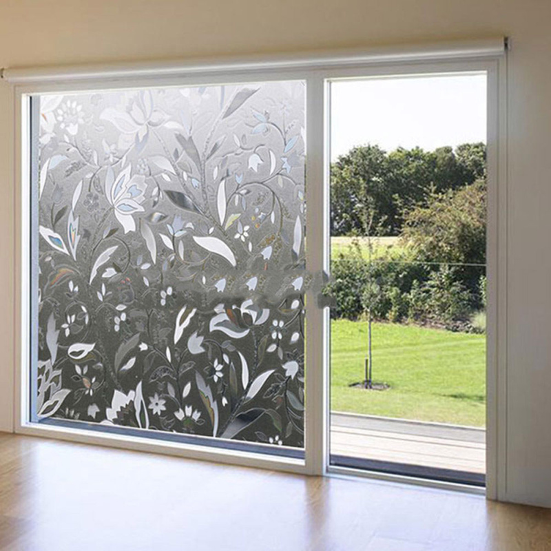 Tulip flower frosted decorative window glass film static cling privacy stickers diy home bedroom bathroom decoration