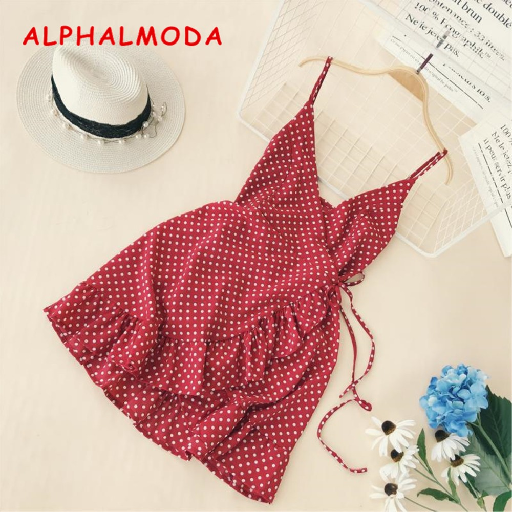 ALPHALMODA 2018 Summer Women Ruffled V-collar Sleeveless Sling Dress Popular Polka Dot Prints Irregular Ruffled Holiday Vestidos