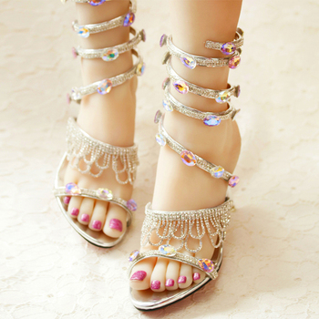 2018 Handmade Spring and Summer Wedding Shoes Rhinestone Sexy Sneak Shape Ankle Strap Sandals Open Toe Sandalias