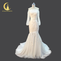 JIALINZEYI Real Picture Boat Neck Long Sleeves Lace Beads Fashion Mermaid Beach Wedding Dresses Wedding Gown