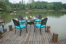 Patio cast aluminum table and chair furniture with cushions sale