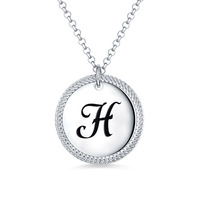 AILIN Personalized Women Coin Initial Necklace For Her White Gold Color Disc Pendant For Female Christmas Gift