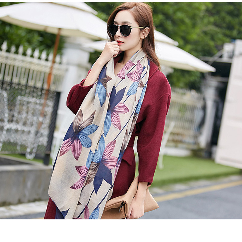 1Pc 2019 New Fashion Women Girl Spring Summer   Scarf   Female Designer Flower Printed Shawl Cotton   Scarves     Wraps   Appare Accessories