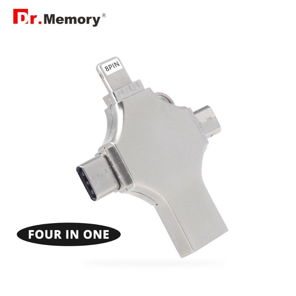 4 en 1 conception clé Usb 128 GB Micro clé Usb 3.0 OTG stylo lecteur 16 GB 32 GB 64 GB cle Usb disque pour iPhone/Type C périphérique