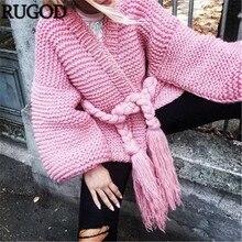 c047997759 RUGOD 2018 Fashion Tassel Belted Handmade Cardigan Women Autumn Lantern  Sleeve Loose Crochet Sweater Cardigans Knitted