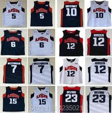 e36ed4eec85f USA Dream Team Men s  6 LeBron James  10 Kobe Bryant harden Kevin Durant  Russell Westbrook kyrie irving Basketball Jerseys