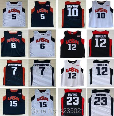USA Dream Team Mens #6 LeBron James #10 Kobe Bryant harden Kevin Durant Russell Westbrook kyrie irving Basketball Jerseys ...