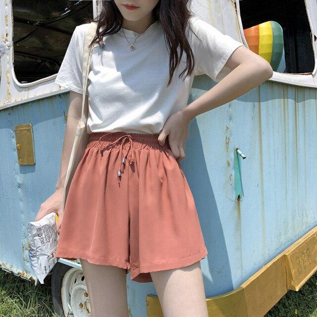 LKlady Summer New Casual Wide-Leg Chiffon Short Female Tide Loose High Waist Wear Students Wild Thin Shorts
