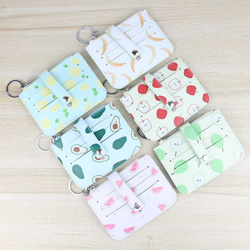 PACGOTH Fresh Japanese and Korean Style Women's PU Leather Coin Purse Multifunction Card Holder Coin Bags Fruits Prints Banana pacgoth japanese and korean style pu leather coin purse casual animal prints cute cats hot lip pattern zipper cash pouch 1 piece