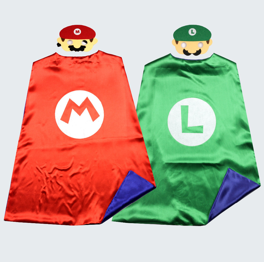 Super Mario Bros Cape + Mask Kids Party Cosplay Superman Capes For Birthday Party Favor