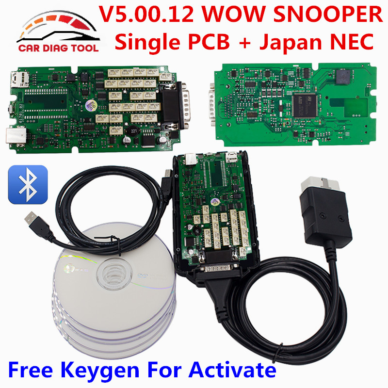 Цена за 2017 Одежда высшего качества V5.00.12 WOW snooper Bluetooth с Keygen один зеленый pcb V5.008 R2 WOW snooper TCS CDP PRO инструмент диагностики