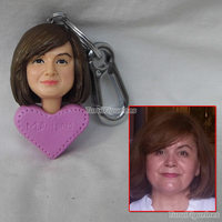 wedding cake topper personalized custom keychain keyring from photo clay doll figurine sculpture personalized doll of girlfriend