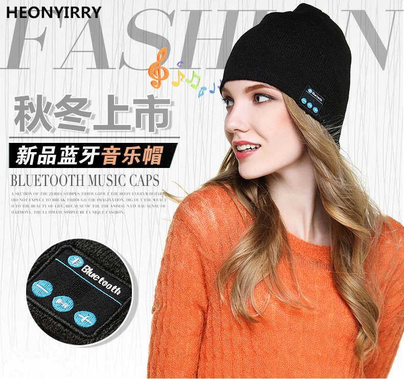 HEONYIRRY Beanie Hat Cap Wireless Bluetooth Earphone Smart Headset headphone Speaker Mic Winter Outdoor Sport Stereo Music Hat fashion soft warm beanie hat wireless bluetooth smart cap headphone headset speaker mic